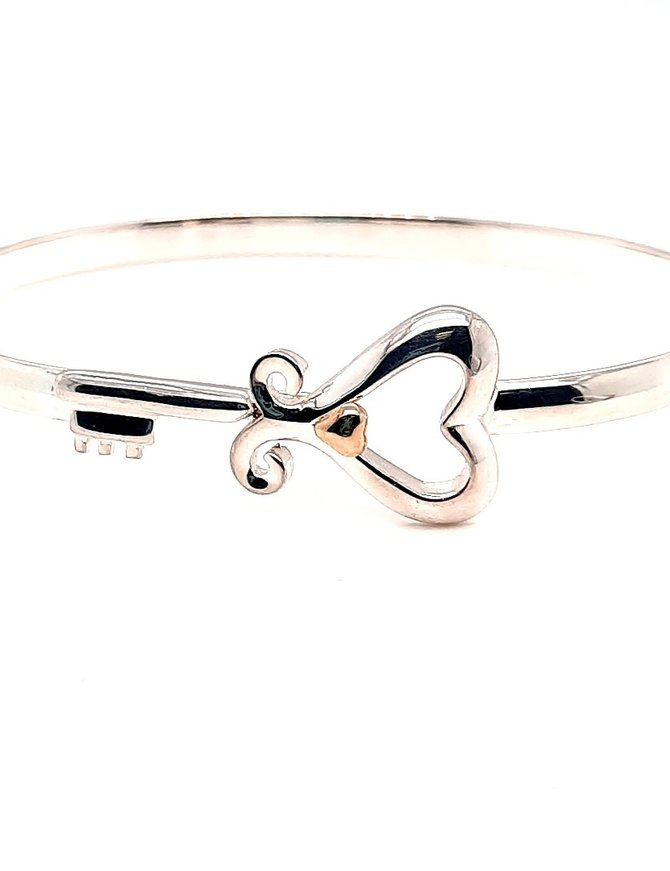 "TQ Original ""Key to her Heart"" bracelet, 14k yellow gold &sterling silver"