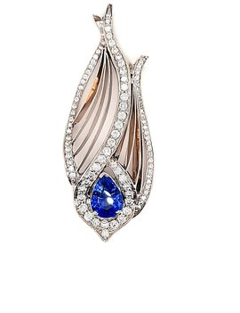 TQ Original sapphire (1.92 ct) & diamond (1.25 ctw) pendant, 14k white gold