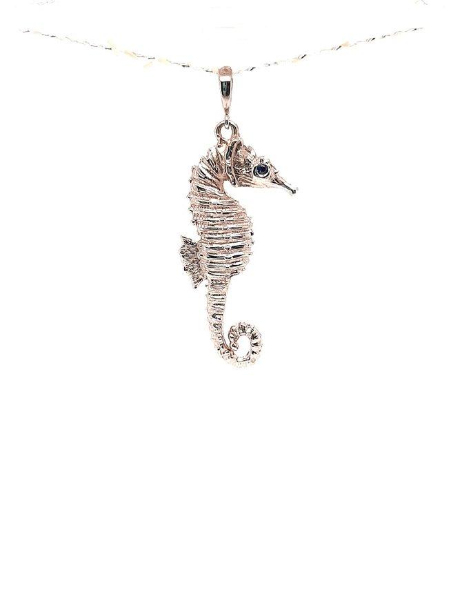 "TQ Original sapphire (0.06 ct) ""Seahorse"" pendant, 14k white gold, chain sold separately"