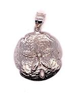 "TQ Original ""Sand Dollar"" pendant, 14k white gold"