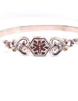 TQ Original medic alert hook bracelet, sterling silver & CZ, 5mm