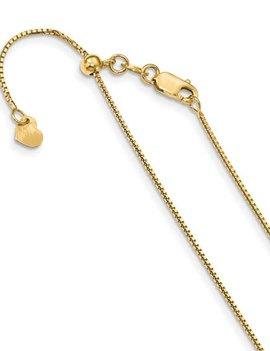 "14k yellow gold box adjustable chain 0.88 mm, 22"""