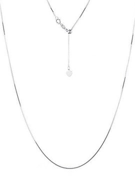 """Sterling silver with white gold rhodium adjustable chain, 18"""""""