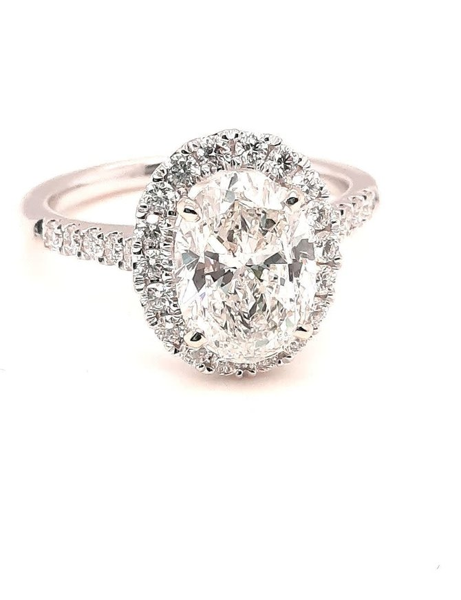 Oval diamond (2.20ct center, 2.70 ctw) halo ring, 14k white gold, I/Vs1 Gia 2296275748