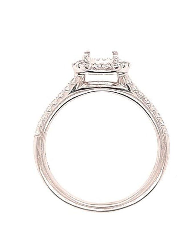 Diamond (0.50 ctw) halo setting and matching band set, 14k white gold