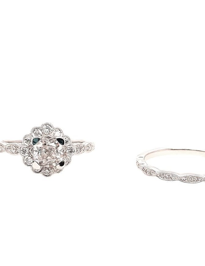 """Diamond (0.26 ctw) """"flower"""" setting and matching band, 14k white gold. Shown with a cz center"""