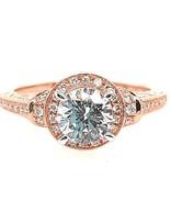 Diamond (0.32 ctw) antique halo setting, 14k rose gold, cz center