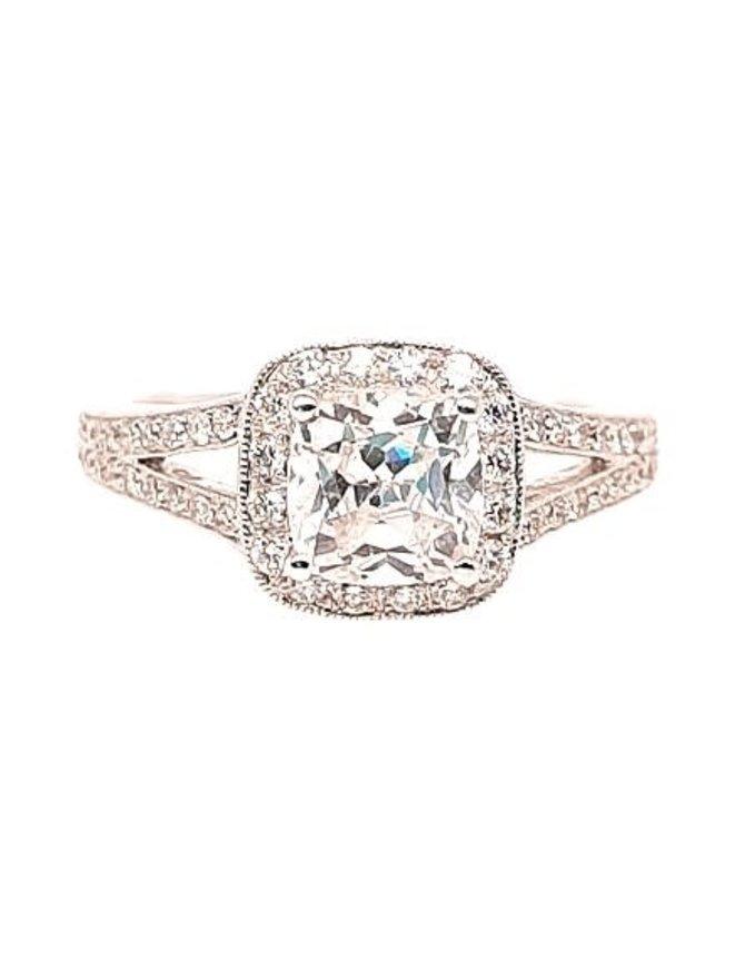 Diamond (0.44 ctw) split-shank halo setting, 14k white gold, cz center