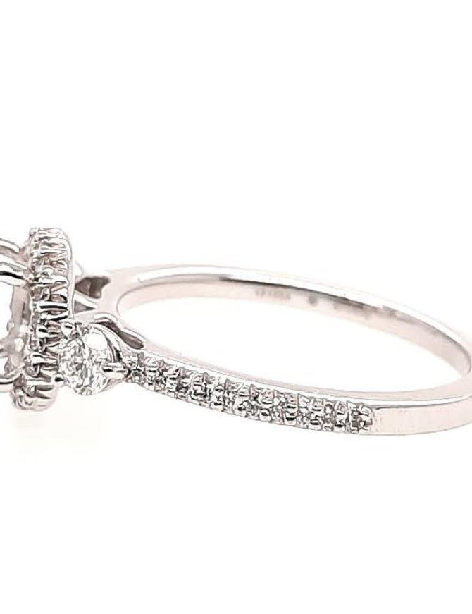 Diamond (0.47 ctw) 3-stone halo setting, 14k white gold