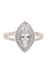 Marquise diamond (0.36 ctw) halo setting, 14k white gold, cz center