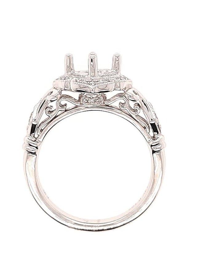 Bezel-set diamond (0.16 ctw) halo setting, 14k white gold, cz center, center stone sold separately
