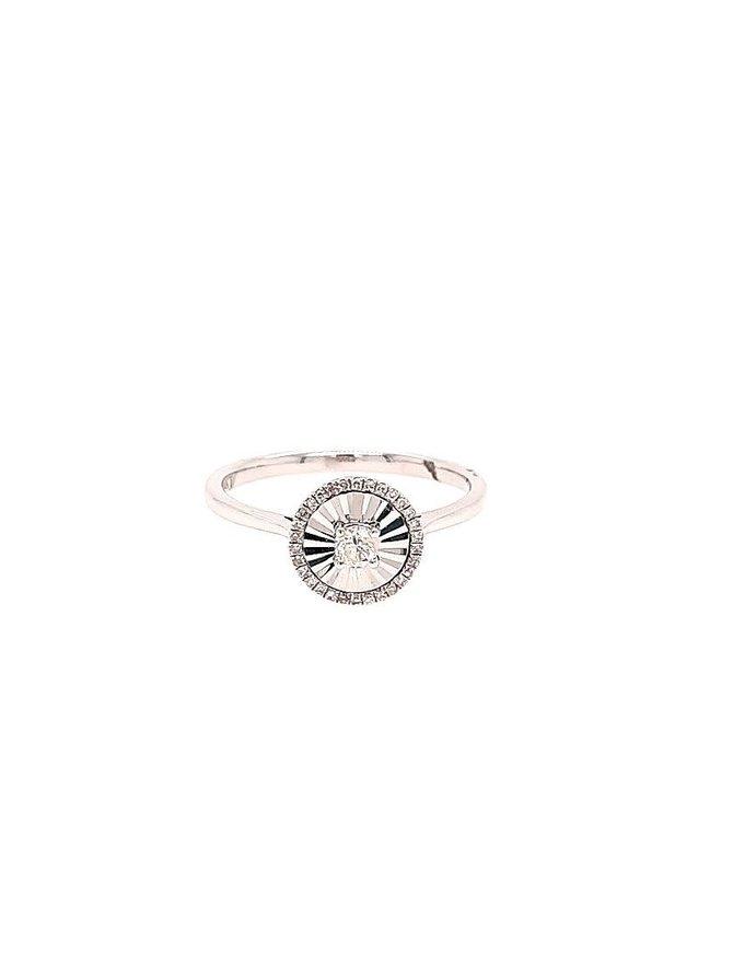 Halo diamond-cut top (0.20 ctw) ring, 14k white gold
