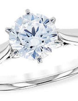 Solitaire diamond (0.04 ctw) setting, 14k white gold, cz center