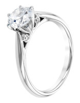 Solitaire diamond (0.04 ctw) setting, 14k white gold, cz center, center stone sold separately