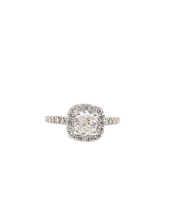 Cushion diamond (1.11 ct K/SI1 GIA, 1.57 ctw) ring, 14k white gold