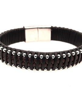 "Men's 8.5"" black & brown leather beaded edge bracelet, stainless steel clasp"