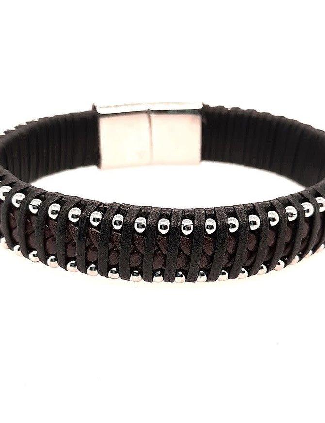 "Men's 9"" black & brown leather beaded edge bracelet, stainless steel clasp"
