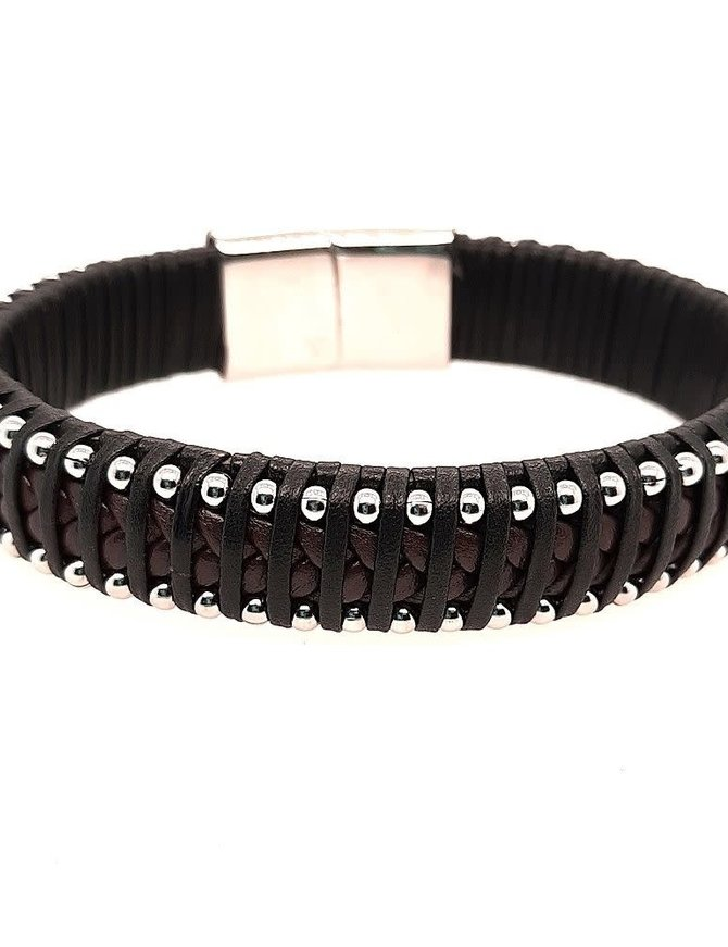 "Men's 9"" black cable bracelet, stainless steel clasp"