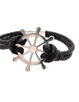 """Men's 8.5"""" black leather bracelet with stainless steel Captain's wheel clasp"""