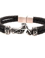 """Men's 8.5"""" black leather bracelet with stainless steel Harley clasp"""