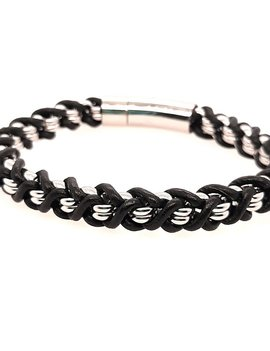 """Men's 8.5"""" black leather braided bracelet with stainless steel clasp"""