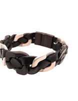 """Men's 8.5"""" black leather braided bracelet with black stainless steel clasp"""