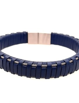 """Men's 9"""" blue leather cable bracelet with stainless steel clasp"""