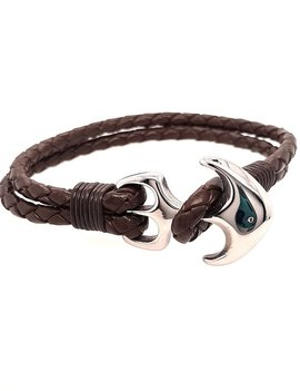 """Men's 8.5"""" brown leather braided bracelet with stainless steel anchor clasp"""