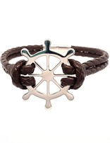 """Men's 8.5"""" brown leather braided bracelet with stainless steel Captain's wheel clasp"""