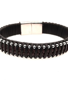 """Men's 9"""" black & brown leather stainless steel bead, stainless steel clasp"""
