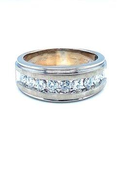 Men's diamond (1.00 ctw) band, 10k white gold, 7.2 grams