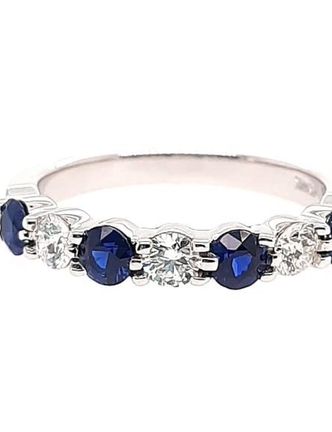 Diamond (0.39 ctw) and sapphire (0.65 ctw) band, 14k white gold