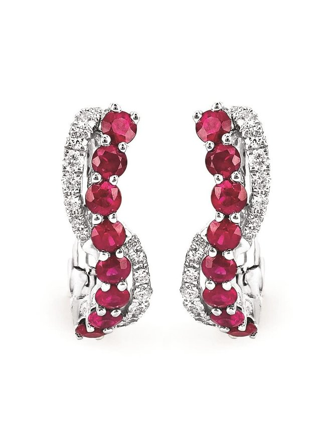 Ruby (0.63 ctw) & diamond (0.12 ctw) earrings, 14k white gold