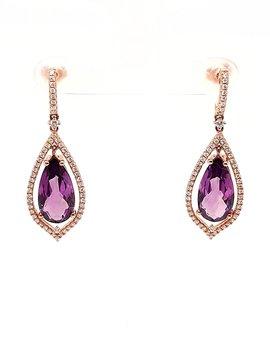 Amethyst (7.75 ctw) & diamond (0.62 ctw) earrings, 14k rose gold