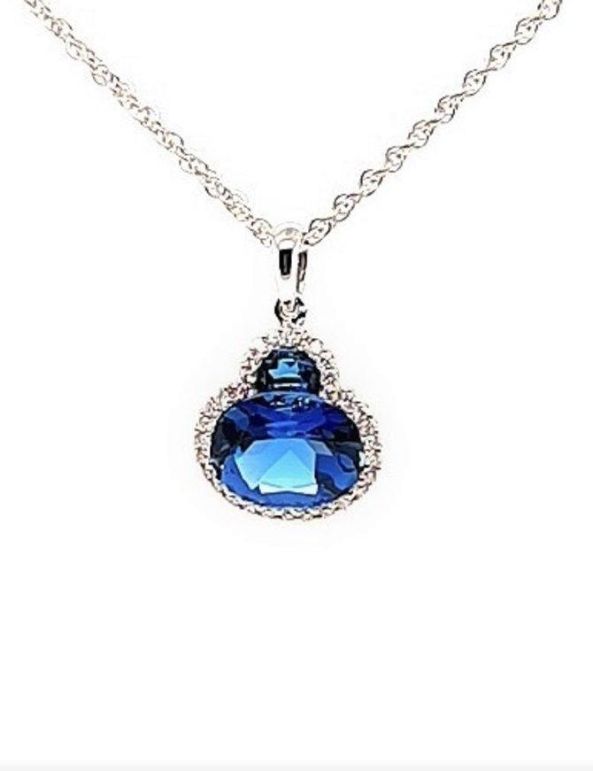 London blue topaz (2.86ctw) & diamond (0.33ctw) pendant, 14k white gold