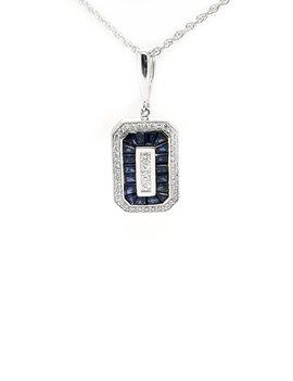 Sapphire (1.08ct)  diamond (0.33ctw) pendant, 14k white gold