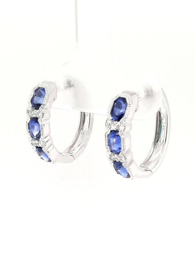 Sapphire (1.40 ctw) & diamond (0.15 ctw) hoop earrings, 14k white gold