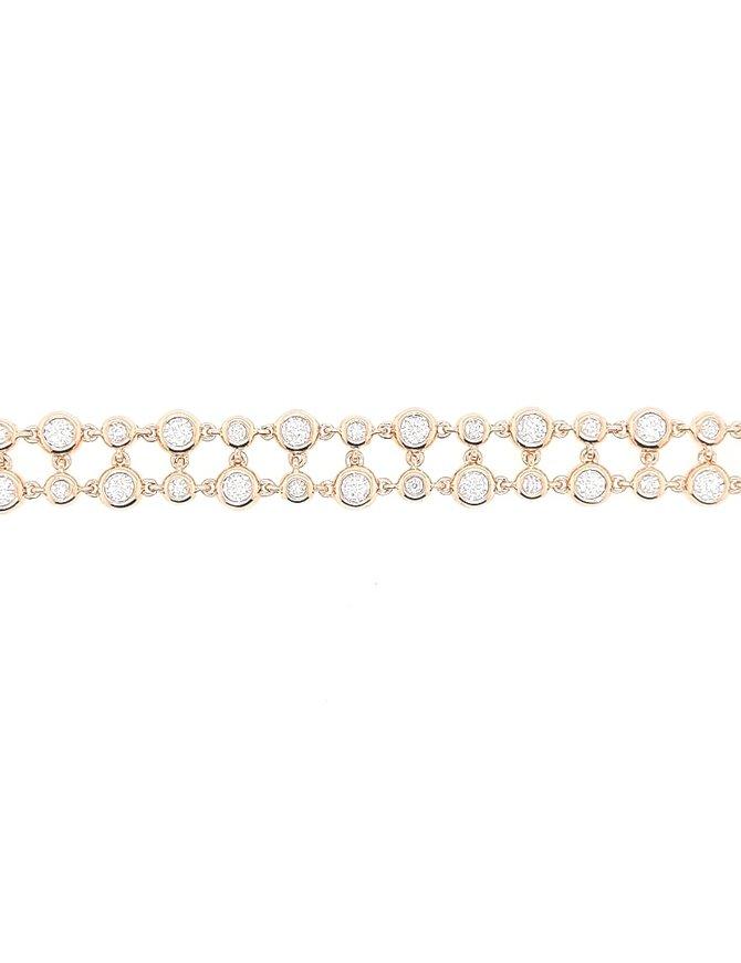 14k 2-row diamond bezel bracelet, 1.33 ctw