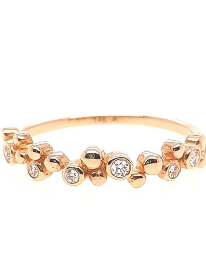 Diamond (0.08 ctw) bezel set & bead band,