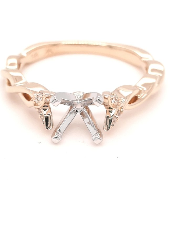 Diamond (0.04ctw) petite twisted bridal setting, 14k yellow gold