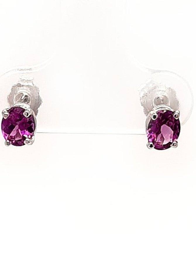 Rhodolite Garnet(5mmx4mm) stud earrings, 14k white gold