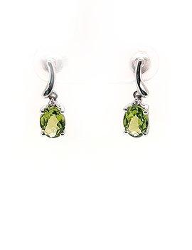 Peridot and diamond earrings 14k white gold