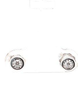 Diamond (0.10 ctw) bezel set stud earrings, 14k white gold
