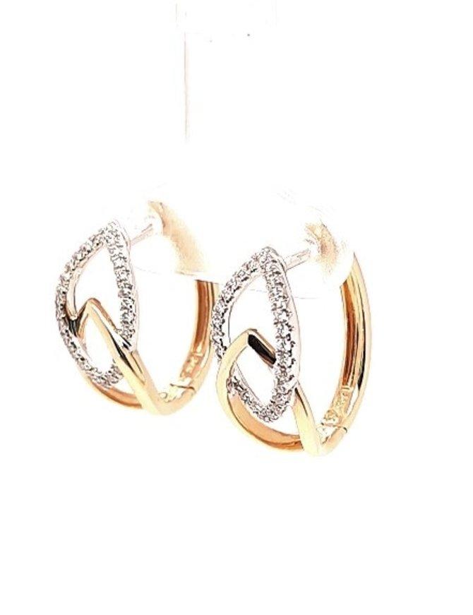 Diamond (0.25 ctw) earrings, 14k yellow & white gold