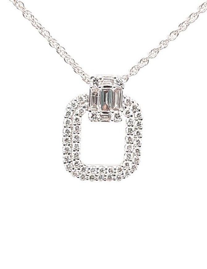 Diamond (0.72 ctw) round & baguette  pendant, 14k white gold