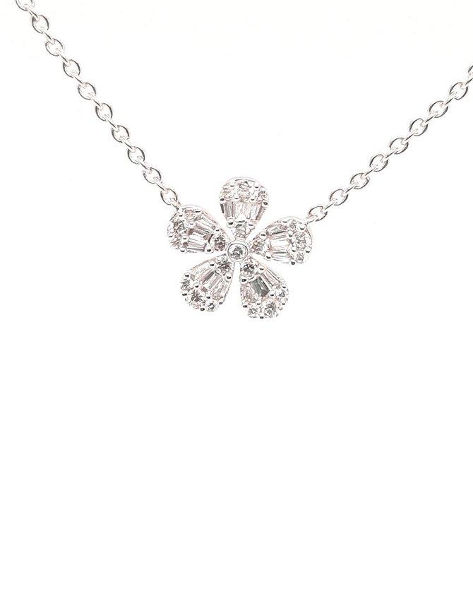 Round & baguette diamond (0.26 ctw) flower pendant, 14k white gold, chain included