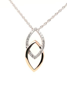 Diamond(0.20ctw) dual marquise shape necklace, 14k white and yellow gold