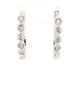Diamond(0.25ctw) bezel set hoop earrings, 14k white gold