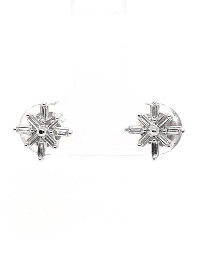 Diamond(0.22ctw) baguette starburst stud earrings, 14k white gold