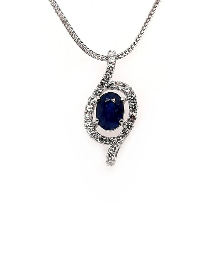 Diamond (0.34 ctw) sapphire (1.29 tw) pendant 14 kt white gold, chain not included